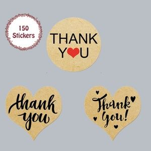 Other - 150 pcs Thank You Stickers Kraft Paper Heart Round